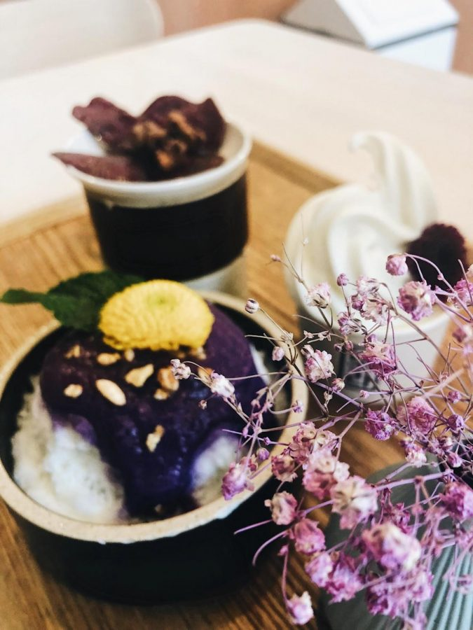 PURPLE DELIGHTS: A serving of bingsu, soft-serve ice cream, and ube chips at the Buena Park location of Cafe Bora, which specializes in South Korean purple sweet potato desserts.