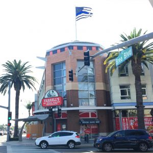 A Thin Blue Line flag stands atop the Farrell's building in Downtown Brea. The raising of the flag stirred debate in the Brea community.
