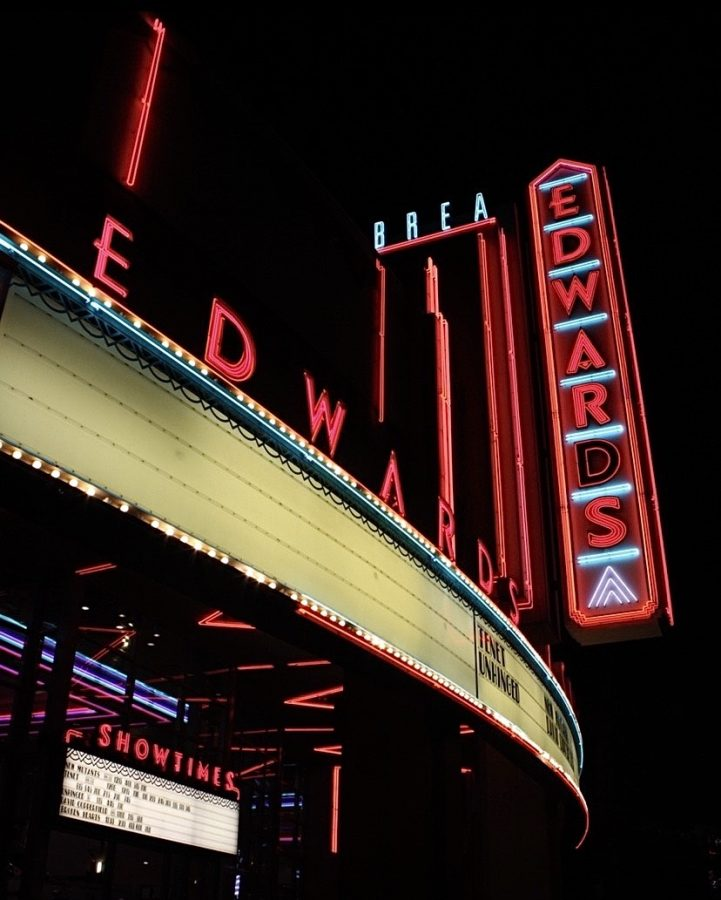 An almost-empty marquee at the Edwards theater in Downtown Brea. Wildcat staff members Natalie DiCesaris and Alexis Alexander visited a theater for the first time since theaters closed to customers in March.