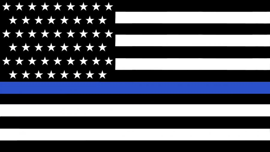 """In an interview in Harper's Magazine, the Thin Blue Line flag's creator, Andrew Jacob, explained that """"the black above [the blue line] represents citizens, and the black below represents criminals."""" The blue line represents police standing"""