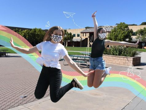Wildcat editors Melea Altermatt and Katie Kudron jump for joy with their favorite masks by Joah Love and Yoga Society.