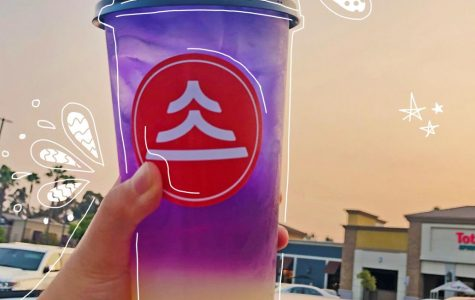 A colorful Yogurt Galaxy drink from new Brea location of the XLB Dumpling Bar chain, located in the Brea Plaza Shopping Center.