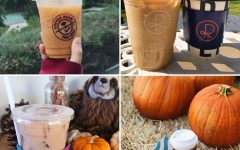 Clockwise from top left, an iced pumpkin chai spice latte from Coffee Bean and Tea Leaf; an iced pumpkin spice latte with oat milk from Reborn Coffee; a pumpkin spice latte from Starbucks; and chai milk tea from Stereoscope.