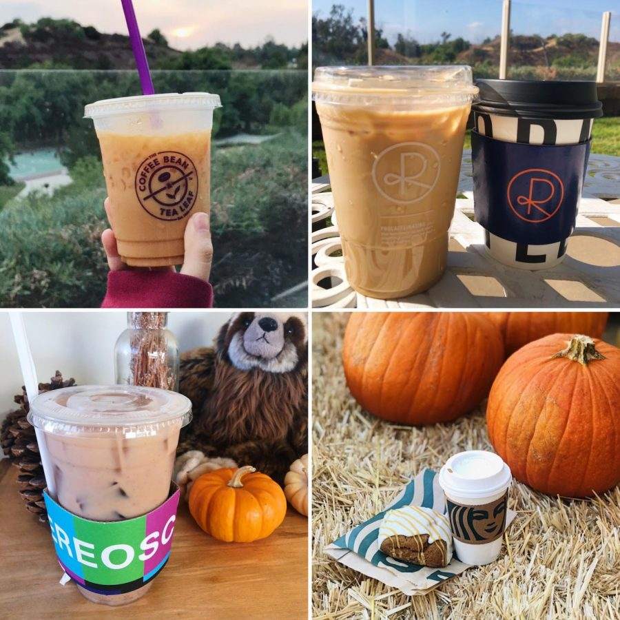 Clockwise+from+top+left%2C+an+iced+pumpkin+chai+spice+latte+from+Coffee+Bean+and+Tea+Leaf%3B+an+iced+pumpkin+spice+latte+with+oat+milk+from+Reborn+Coffee%3B+a+pumpkin+spice+latte+from+Starbucks%3B+and+chai+milk+tea+from+Stereoscope.+