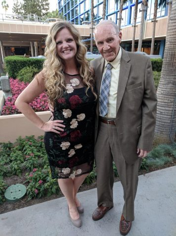 Kara Dietz (left) and her father (right) take a picture at the 2018 Teacher of the Year ceremony at the Disneyland Hotel. Before his passing, Dietz