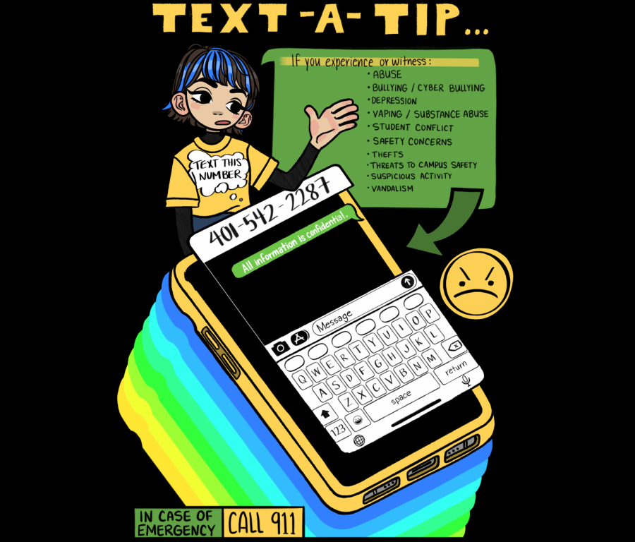 The Text-a-Tip number -- (401) 542-2287 (CATS) -- was implemented to give students a way to quickly and anonymously report issues they experience or confront on campus.