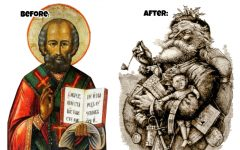 Over the years, the story of the third century's Saint Nicholas of Myra (left), has evolved into the more familiar image of the gift-toting, big-bellied Santa Claus (right).