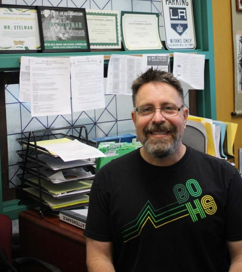 Robert Stelmar, counselor, in his office. Stelmar was named K-12 School Counselor of the Year by the Orange County Department of Education on Feb. 1.