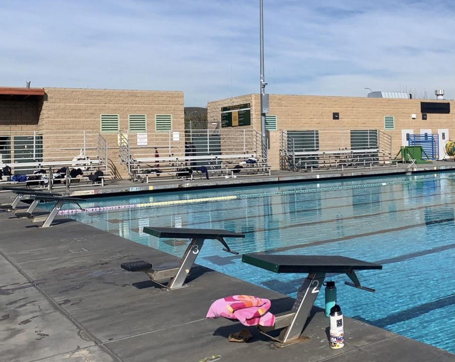 The BOHS pool deck is empty as girls' and boys' varsity water polo teams were both put in mandatory 10-day quarantines after players on each team tested positive for COVID-19.