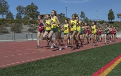 Varsity girls' cross country sprints ahead against Yorba Linda High School in their last dual meet of the pandemic-shortened season on March 6. The girls' varsity program finished 2-2 for the Spring.