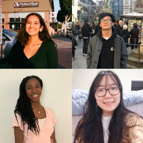 (clockwise from top right) Seniors Joshua Yoon, Rebecca Park, Sophia Akinboro, and Keya Panchal advance as finalists standing in the National Merit Scholarship Program. Finalists will potentially be selected to receive $2,500 dedicated to college funds.