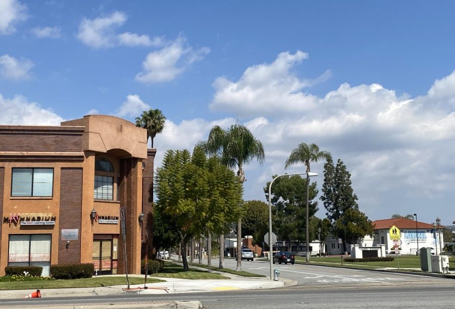 Gaslight Square and Laurel Elementary on the corner of Flower Avenue off Imperial Highway in Brea. Gaslight Square is slated to be demolished to make space for a Raising Cane's restaurant and drive-thru.