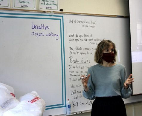 Shelley Weiseth, science teacher, lectures on the COVID-19 virus. Weiseth created the pandemic-themed unit to educate her students about current events.