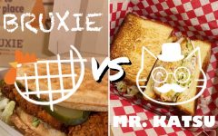 "A spicy battle between Bruxie's Kickin' ""Nashville"" Hot Waffle sandwich and Mr. Katsu's Blue Cheese Buffalo sandwich. Two Wildcat staff members compare spicy sandwiches from local restaurants to decide which spicy sandwich is best."