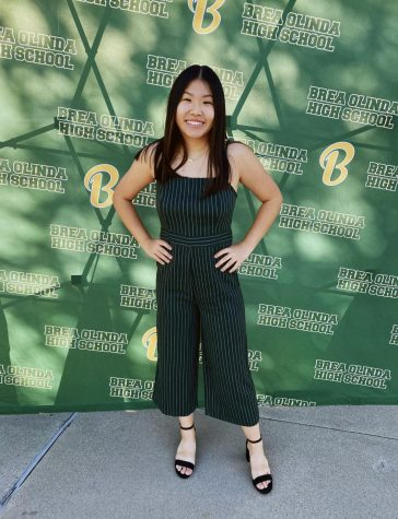 Allison Fong, senior, at the Letter Scholars drive-thru Awards this past Fall. On Feb. 22, Fong was named a Student Athlete of Character by the Orange County Athletic Directors Association.