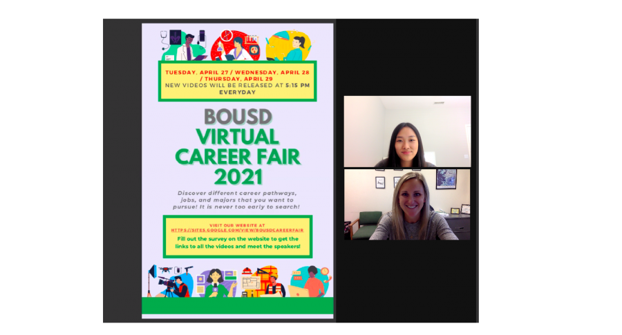 Doyon Kim, sophomore, and counselor Megan Jansen go over the BOUSD Virtual Career Fair flyer and prepare for the upcoming event. Kim and Jansen met often through Zoom to plan and discuss the content and organization of the event.