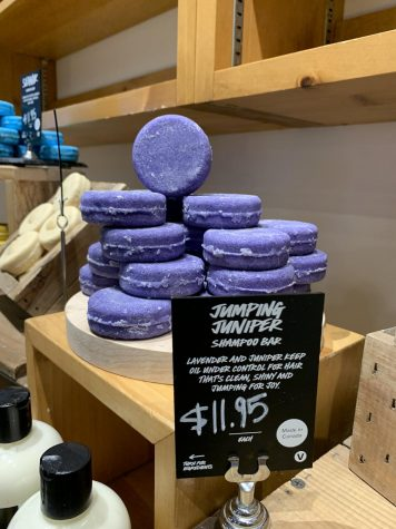 The Jumping Juniper Shampoo Bar displayed in a local location of LUSH. As a part of the Wildcat