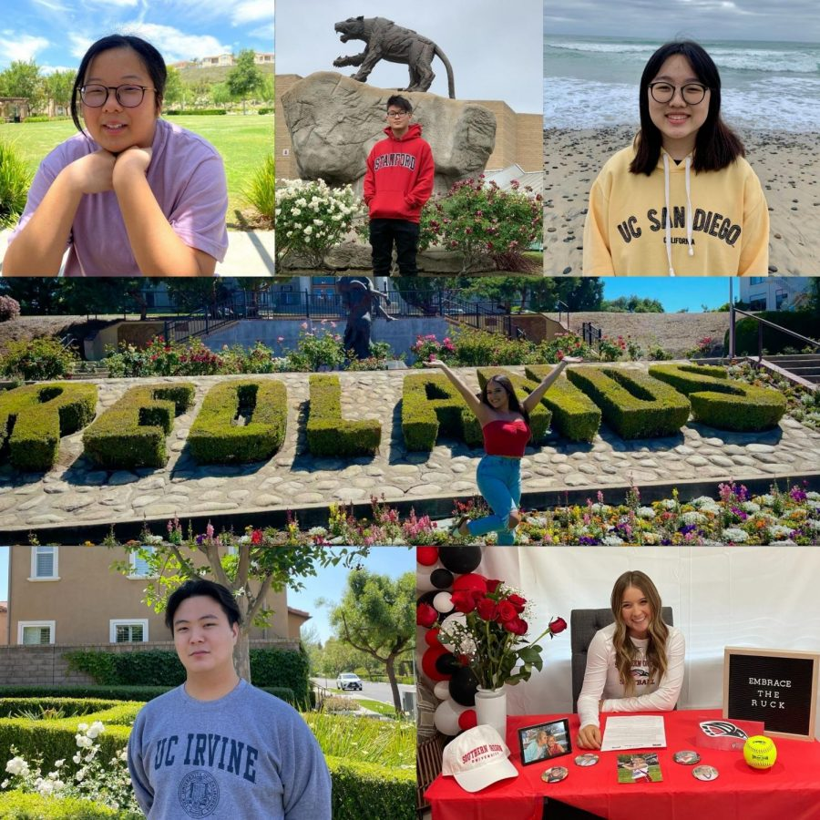 (clockwise from top right) Seniors Lydia Park, Fatima Vazquez, Kami Klapp, Jeongrok Bae, Sophia Lim, and Joshua Yoon come to the end of their high school journeys, but look forward to fresh starts at colleges and universities throughout the West.