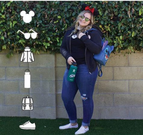 """Isabella Abalos, junior, and her Disneyland """"essentials"""" that will accompany her when she returns to the park this Spring. On April 30, Disneyland re-opened at 25 percent capacity to any California resident longing to spend a day in the park once again."""