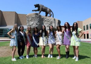 The Homecoming princesses, from left to right: Briana Edmonds, junior; Monique Diaz, sophomore; Brielle Denbo, freshman; Brooklyn Mercado, junior; and seniors Sam Dizon, Grace Yoon, Dahlia Chavez, Megan Swenson, and Nina Corral. One senior will be crowned Homecoming Queen at Friday evenings football game.