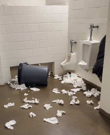 A boys bathroom ransacked by BOHS students inspired by the #deviouslick TikTok challenge. According to Dr. Brad Mason, superintendent, September's challenge to mess up a toilet/vandalize a restroom resulted in damage to some campuses restrooms and encourages even more egregious behaviors.